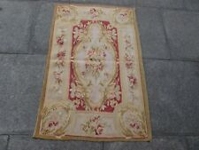 Vintage Hand Made French Design Wool Beige Red Original Small Aubusson 121X78cm