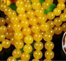 4-8mm Beautiful Yellow Round Jade /Loose Beads 15""