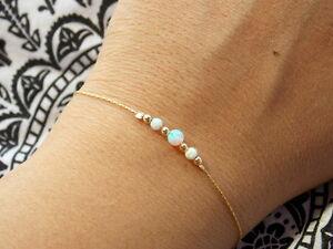 Dainty gold filled opal beaded bracelet