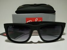 New Ray-Ban Justin Wayfarer POLARiZED RB4165 622/T3 Black/Grey Gradient 54mm