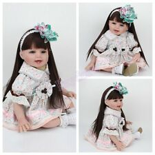 22'' Reborn Baby Dolls Real Life Newborn Vinyl Silicone Long Hair Baby Girl Doll