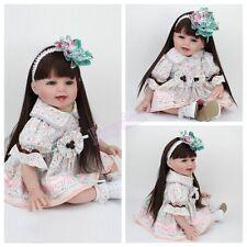 22'' Reborn Baby Dolls Real Life Newborn Vinyl Silicone Long Hair Baby Girl Doll