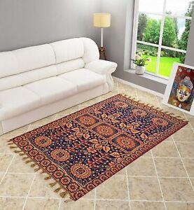 Handwoven Cotton Multicolour Rectangular Floral 4X7 Feet 1 Pc Carpet/Rug/Galicha