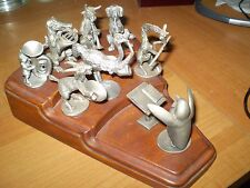 """Hudson Pewter Animal Brass Band """"STRIKE UP THE BAND"""" (riser and 9 pewter pieces)"""