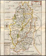 1700 CA Mapa Antiguo-un Mapp de Ye condado de Nottingham-Richard Blome