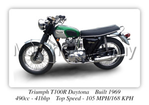 Triumph T100R Daytona Motorcycle - A3 Size Print Poster on Photographic Paper