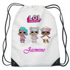 Personalised Kids girls LOL DOLLS Drawstring Bag - School, Swimming & More