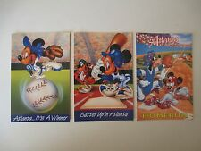 3 Postcards Atlanta Ga Mickey Mouse Goofy Donald Duck Minnie Disney Baseball