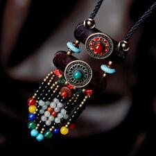 Vintage Pendant Women Ethnic Sweater Wooden Necklace Jewelry Tibetan Turquoise