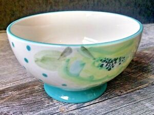 """Pioneer Woman 6.5"""" Footed Bowl  Vintage Bloom Blue Floral"""