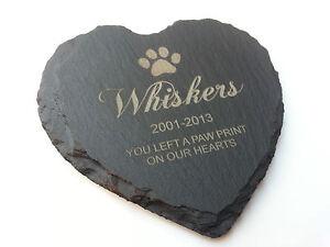 Personalised Slate Heart Pet Memorial Engraved Grave Marker Dog Cat Hamster
