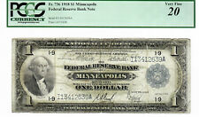 1918 $1 Minneapolis Fr. 736 PMG Cert. Very Fine 20 FRBN National Currency #8564