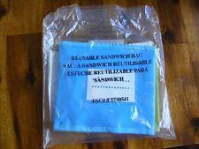 New! 3 pack REUSABLE sandwich bags 7x6 w/ hook & loop closure blue green & pink