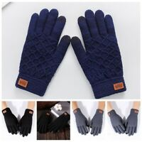 Women Men Wool Knitted Gloves Full Finger Warm Touch Mittens Screen Solid Color