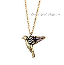 RETRO BRONZE 3D HUMMING BIRD PENDANT LONG CHAIN NECKLACE FUNKY COSTUME JEWELRY