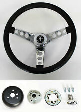 "NEW! 1965 - 1969 Mustang Black Steering Wheel Grant 13 1/2"" with chrome spokes"