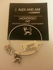 Alex And Ani MONOPOLY SET, CAT, DOG, CAR, HOUSE Four BANGLES Bracelets Silver