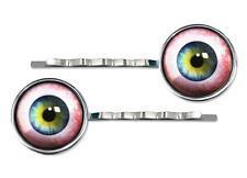 Spooky Human Eyeball Silver Plated Glass Hair Clip Horror Halloween Barrette Set