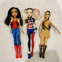 "DC Super Hero Girls Wonder Woman Harley Quinn 12"" Action Doll + Bonus - Lot of 3"