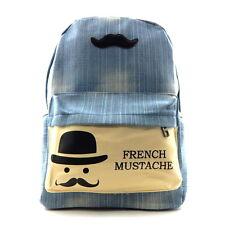 Fashion French Mustache Denim Backpack School Bag Travel Rucksack