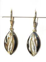 Echt 925 Sterling Silber Ohrringe Zirkonia CRYSTAL vergoldet gold Nr 40