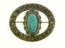 Symbol Oval Turquoise Cabochon Pin Vintage Silver Plate Brass Tribal Embossed
