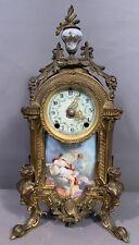 Antique ART NOUVEAU Figural WINGED LADY BUST Old NEW HAVEN Boudoir MANTEL CLOCK