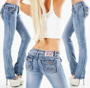 Women's straight leg Jeans stretch light Blue washed mid rise Trousers UK 8 -16