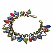 Sweet Romance Women's Millefiori Hearts Charm Bracelet - Glass & Crystals