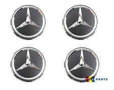 NEW GENUINE MERCEDES BENZ MB 75mm AMG BLACK SURROUND WHEEL CENTER HUB CAPS 4 PCS