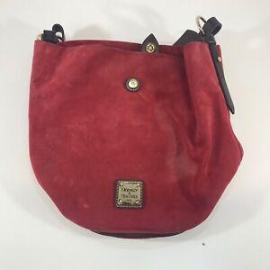 Dooney & Bourke Red Leather Suede Shoulder Bag Purse