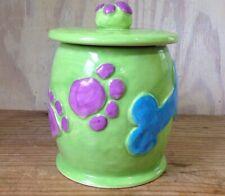 Debby Carman Ceramic Doggie Treat Canister Jar Dog Bone Paw Prints Green