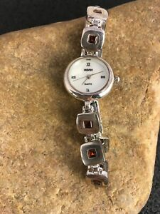 STUNNING Vintage Garnet Sterling Silver Womens Watch Tips 8813