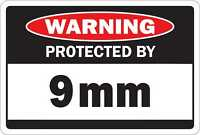 WARNING PROTECTED BY 9MM Aluminum 18 x 12 Metal Novelty Danger Sign