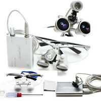 3.5x420 Dental Surgical Binocular Loupes+LED Head Light optical glass Dentist US