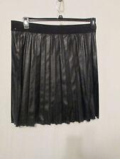 Alfani Black Vegan Leather Pleated Skirt 16