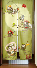 Japanese Noren Curtain Bird Fukuro Owl Family Happy 85 x 150cm MADE IN JAPAN