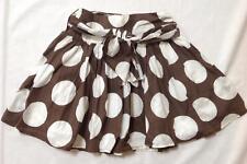 girl Mini Boden brown white big spot polka dot 50's Fifties skirt w tie sash 7 8