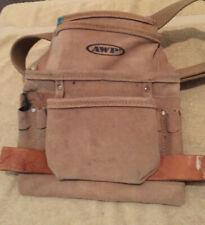 AWP 8-Pocket Construction/Nail/Tool Bag/Pouch/Belt/Holder/Pocket-Split Leather -