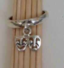 Pretty Sterling Silver Comedy/Tragedy Mask Charm Toe Ring (Buy 2+ = 1st Class)