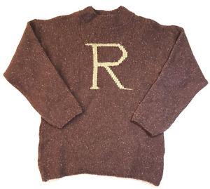 Harry Potter Ron Weasley Burgundy Wool Silk Pullover Sweater R Monogram Mens M