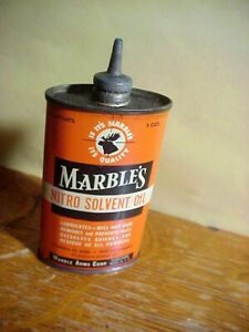 MARBLES NITRO SOLVENT OIL  Antique LEAD TOP OIL TIN CAN 99%