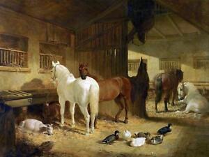 FOUR HORSES IN A BARN J. Herring farm Tile Mural Kitchen Backsplash Ceramic 10x8