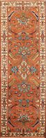 """Geometric Traditional Oriental Runner Rug Hand-knotted 2' 6'x8' 0"""" Orange Carpet"""