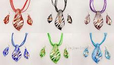wholesale 6set Foil leaf Murano glass pendant Silver P Necklaces Earring FREE