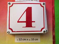 Emaille-Hausnummer Nr. 5 rote Zahl auf weißem Hintergrund 12 cm x 10 cm