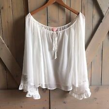 M NWT Women's Flowy Bohemian White Lace Ethereal Gypsy Peasant Blouse Top MEDIUM