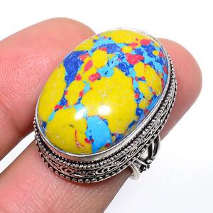 Rainbow Mosaic Jasper Vintage Gemstone 925 Sterling Silver Jewelry Ring s.7 T863