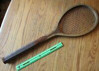 "Tennis Racket Racquet Vintage Wooden Antique No brand Un-branded 27-1/4"" long"