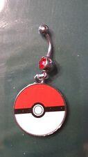 Pokemon ball  Belly Ring Navel Ring 14G Surgical Steel Dangle